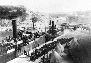 Desembarco en Orán de los refugiados espanoles del Stanbrook. Fondo documental de la Fundación Pablo Iglesias.