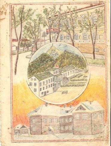 En la parte central del dibujo de José Moreno, se aprecia la Casa en Beshtau, Piatigorsk.