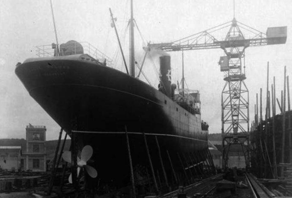 El buque Dairiguerrme, en su botadura.