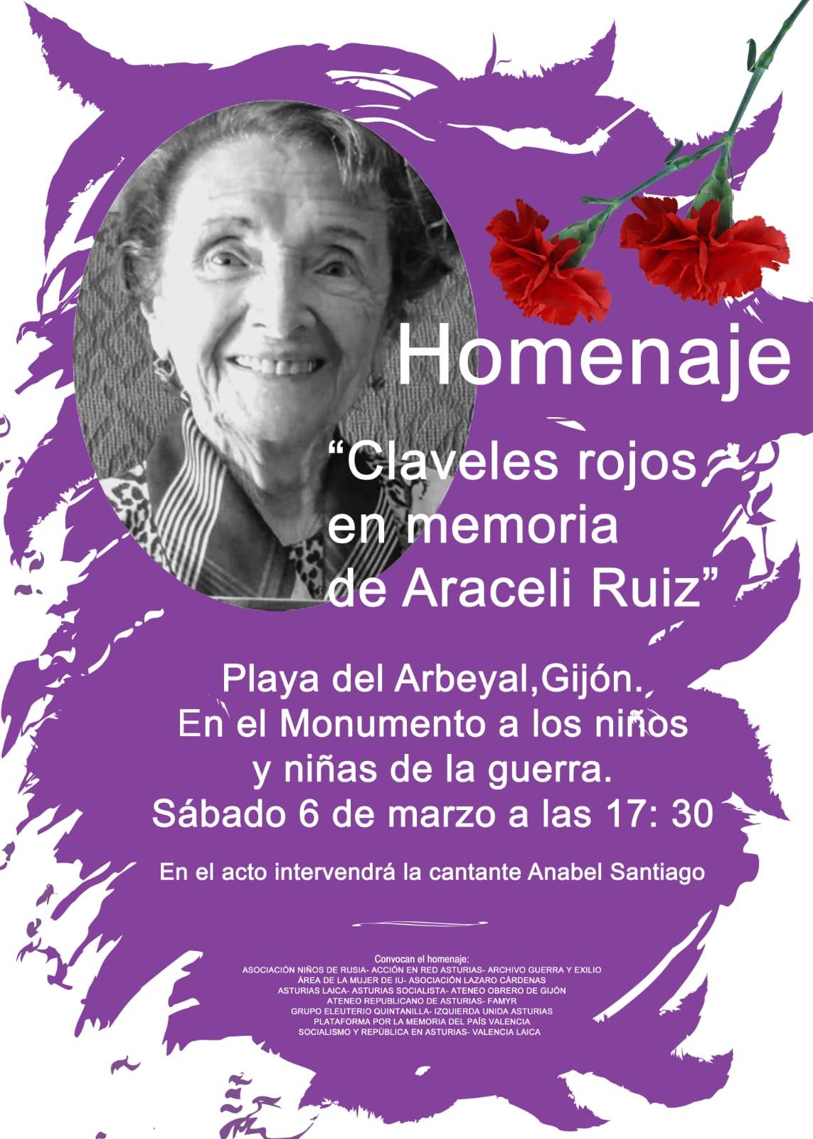 Sábado 6/03/2021, El Arbeyal, Xixón. Acto en memoria de Araceli Ruíz