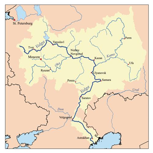 Curso completo del río Volga.