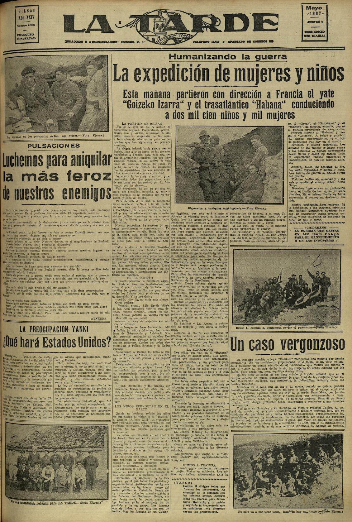 Periódico La Tarde. Bilbao, 6 de mayo de 1937.