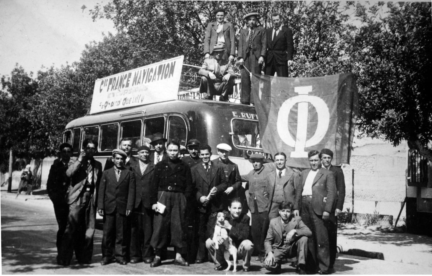 Excursión organizada por la Compañía para la tripulación del  Grand Quevilly. Región de Oran, 1938.