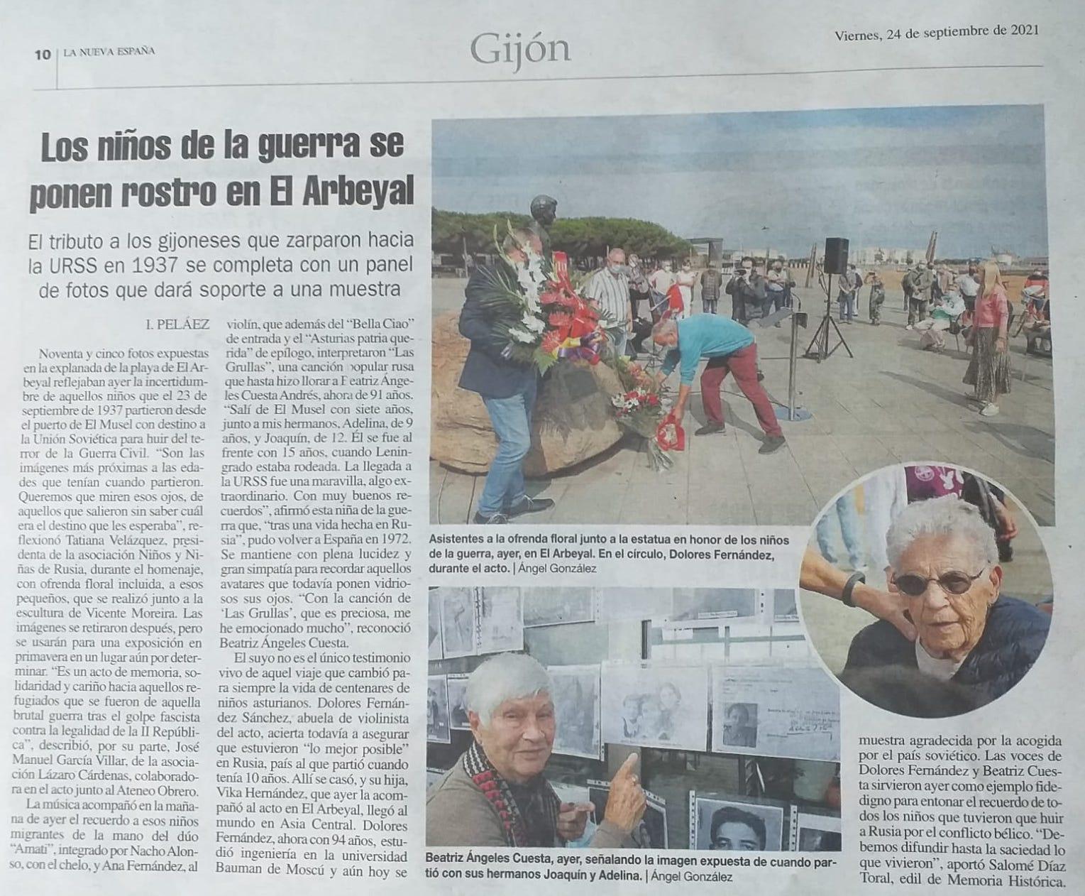 Artículo en el diario  La Nueva España, 24 de septiembre, 2021